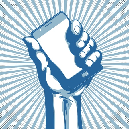Vector illustration in retro style of a hand holding a cool modern cell phone Stock Vector - 9931421