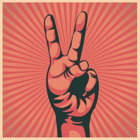 Ilustración vectorial en estilo retro de la mano con el signo de la victoria