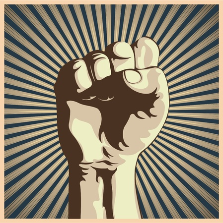 Vector illustration in retro style of a clenched fist held high in protest.  Vector