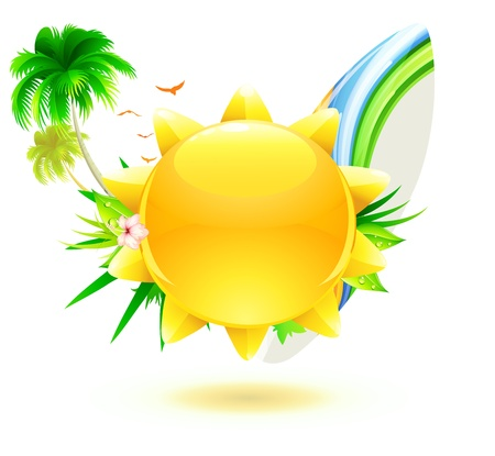 Vector illustration of funky summer background with palm trees, hibiscus flowers, surfboard and yellow sun Vector