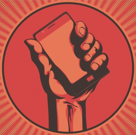 telefono caricatura: Ilustraci�n vectorial en estilo retro de una mano sosteniendo un tel�fono celular moderno cool