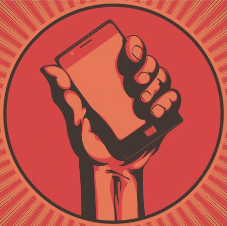 revolution: Vector illustration in retro style of  a hand holding a cool modern cell phone
