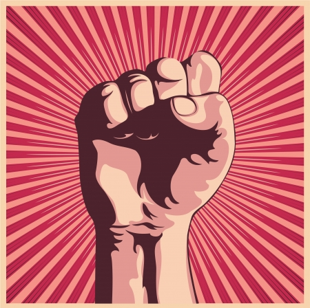 struggling: Vector illustration in retro style of a clenched fist held high in protest.