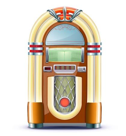 Ilustración de estilo retro detallada clásico juke box. Ilustración de vector