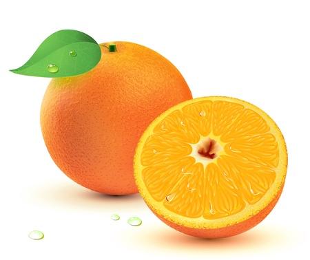 Abbildung eine frische saftige Orangen isolated on white Background.