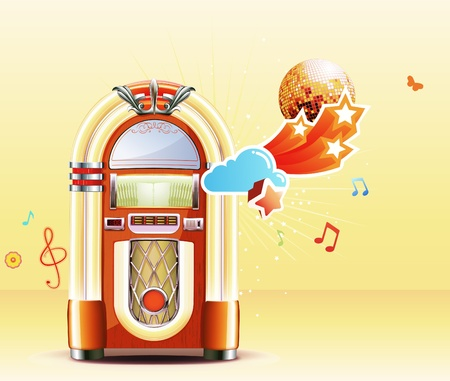 Illustration in retro style of party abstract  background with detailed classic juke box. Illustration