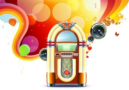 Illustratie in retro stijl van partij abstracte achtergrond met gedetailleerde klassieke Jukebox.