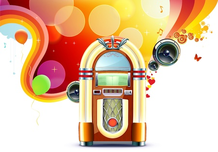 Illustration in retro style of party abstract  background with detailed classic juke box. Vector
