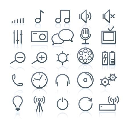 remote communication: Set of original multimedia Icons