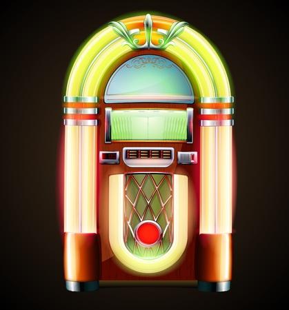 Illustration  of retro style detailed classic juke box. Illustration