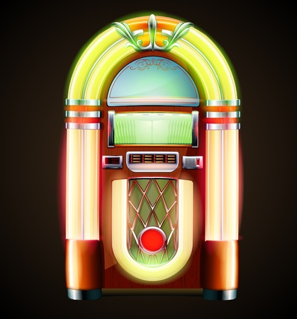 Illustration  of retro style detailed classic juke box. Vector