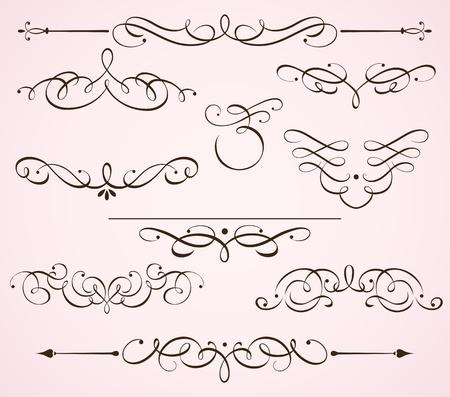 Conjunto de ilustración de remolinos florece elementos florales decorativos