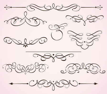 flower line: Illustration set of swirling flourishes decorative floral elements