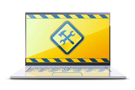 Illustration of modern laptop with Under Construction Sign on the display