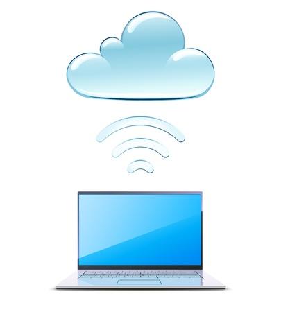 Illustration of modern laptop send files to cloud server Stock Vector - 10042785