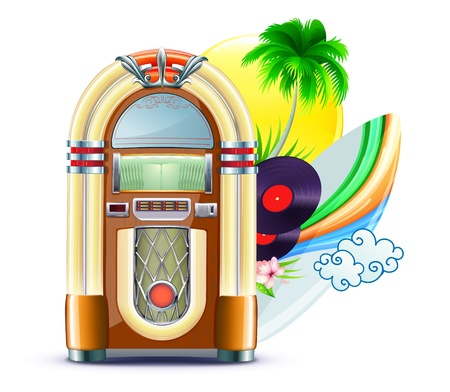 Illustration of funky summer music background with palm trees, jukeboxe, vinyle dick, hibiscus flowers, surfboard and yellow sun Vector