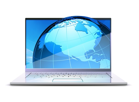 Illustration of modern laptop with big blue globe on the display Vector