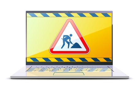 Illustration of modern laptop with Under Construction Sign on the display Vector
