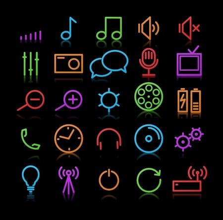 digital volume: Set of original multimedia Icons