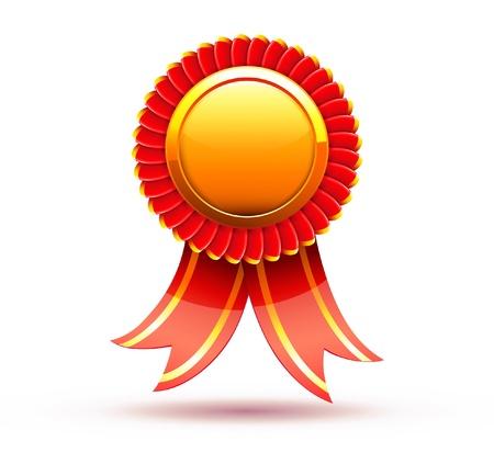 Illustrazione vettoriale di distintivo rosso e nastro