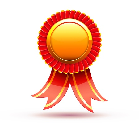 award ribbon rosette: Vector illustration of red badge and ribbon