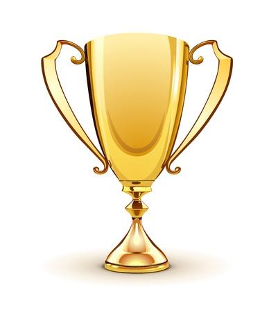 Vector illustratie van Vooraanzicht van een gouden trofee Vector Illustratie