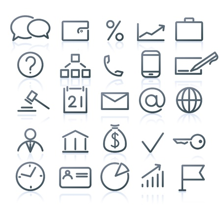 dollar bag: Vector set of original business icons