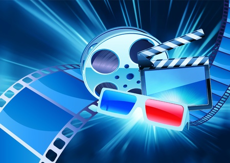film star: Vector illustration of blue abstract cinema background with anaglyph glasses, clapperboard and a film reel