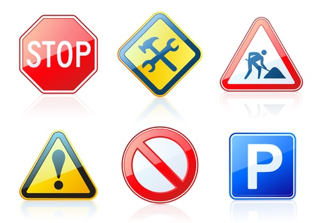 information highway: Vector set of original road-style icons  Illustration