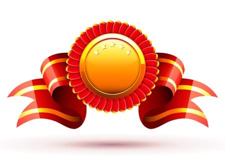 Vector illustratie van rode badge en lint Stock Illustratie