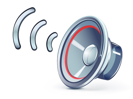 audio speaker: Vector illustration of glass transparently speaker icon Illustration