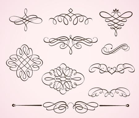 Conjunto de ilustración vectorial de remolinos florece elementos florales decorativos