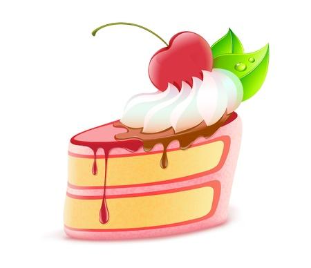 porcion de torta: Ilustración vectorial de pieza estilizada de postre delicioso pastel con crema y cerezas