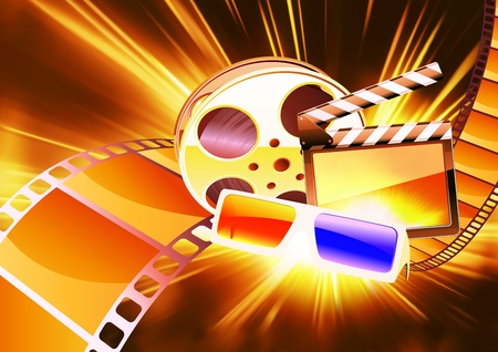 Vector illustration of orange abstract cinema background with anaglyph glasses, clapperboard and a film reel