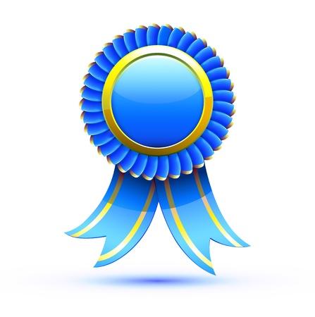 Illustrazione vettoriale di distintivo blu e nastro