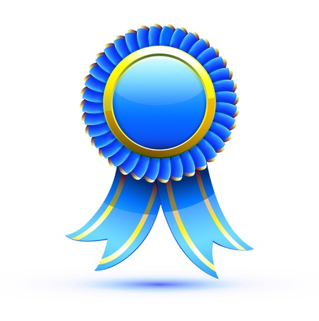 award winning: Vector illustration of blue badge and ribbon