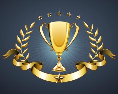 blasone: Illustrazione vettoriale di trofeo d'oro con corona di alloro e distintivo nastro di mettere un testo