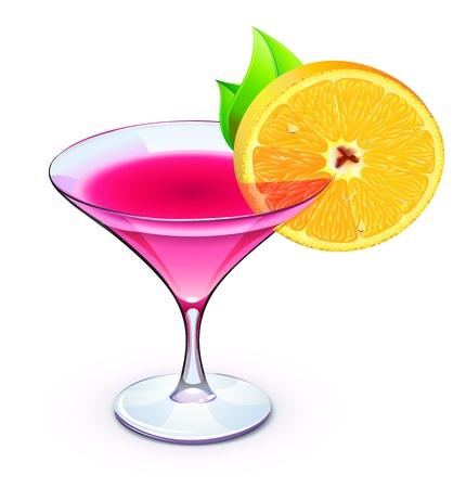 copa martini: Ilustración vectorial de cóctel rosado en un vidrio espumoso con rodaja de naranja Vectores