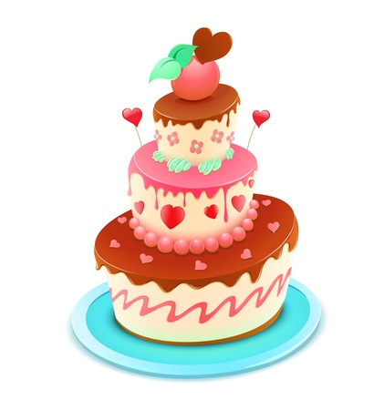 pink cake: Vector illustration of a romantic tiered cake decorated with flowers and funky hearts