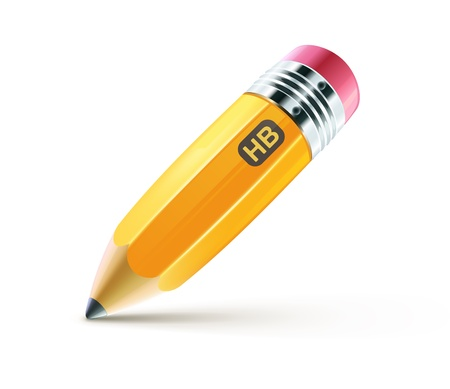 pencil drawing: Vector illustration of sharpened fat yellow pencil isolated on white background