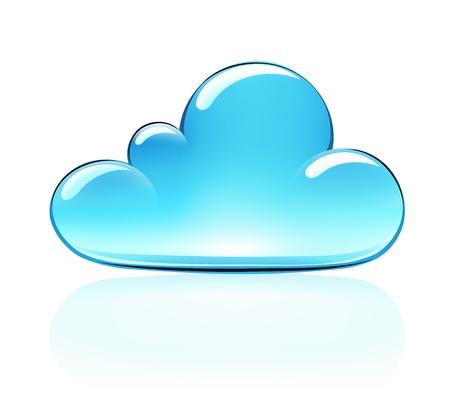 the internet: Illustrazione vettoriale di blu internet nube icon Vettoriali