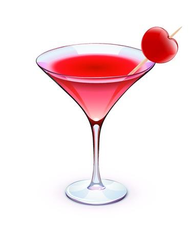 glas kunst: illustratie van rode cocktail in een sprankelend glas met funky kersen
