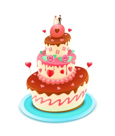 layer cake: illustration of a wedding tiered cake decorated with flowers and funky hearts Illustration