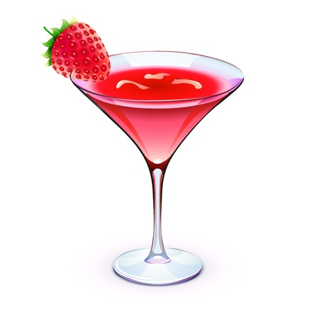 Illustration of red cocktail in a sparkling glass with funky strawberry and cubes of ice