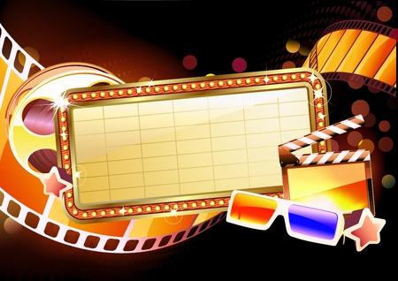 movie sign: Ilustraci�n del signo de retro iluminada pel�cula recuadro en blanco Vectores