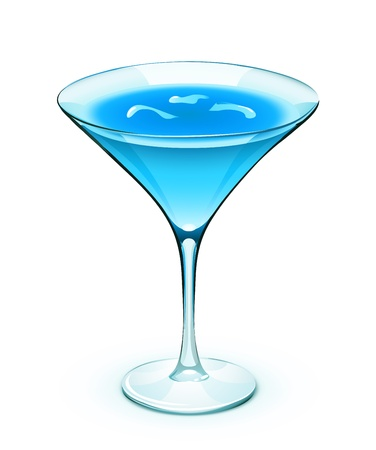 drunk party: Illustration of blue cocktail in a sparkling glass with cubes of ice Illustration