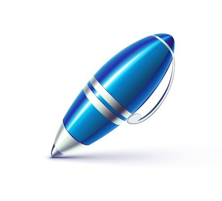 ballpoint pen: Illustration of funky elegant ballpoint pen isolated on white background