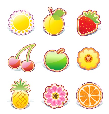 Illustration set of funky fruity design elements on stickers Vector
