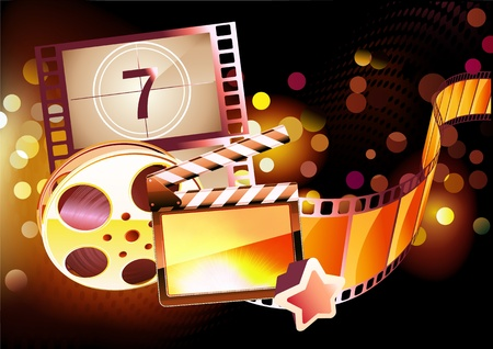 Illustration of orange abstract cinema background with clapperboard and a film reel