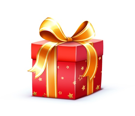 surprise box: Illustration of funky Christmas gift box isolated on white background